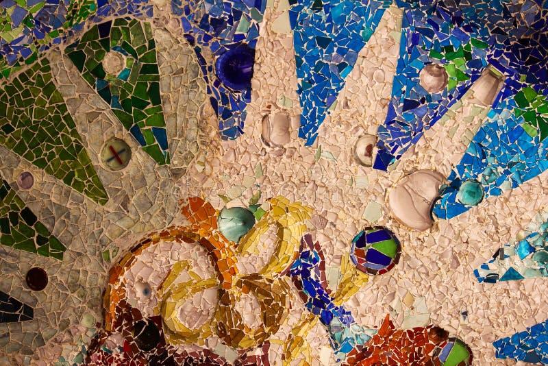 Detalle ascendente cercano de un mosaico coloreado imagen de archivo