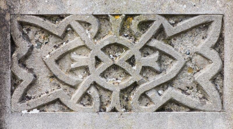Detalle céltico del diseño en la lápida mortuaria fotos de archivo libres de regalías
