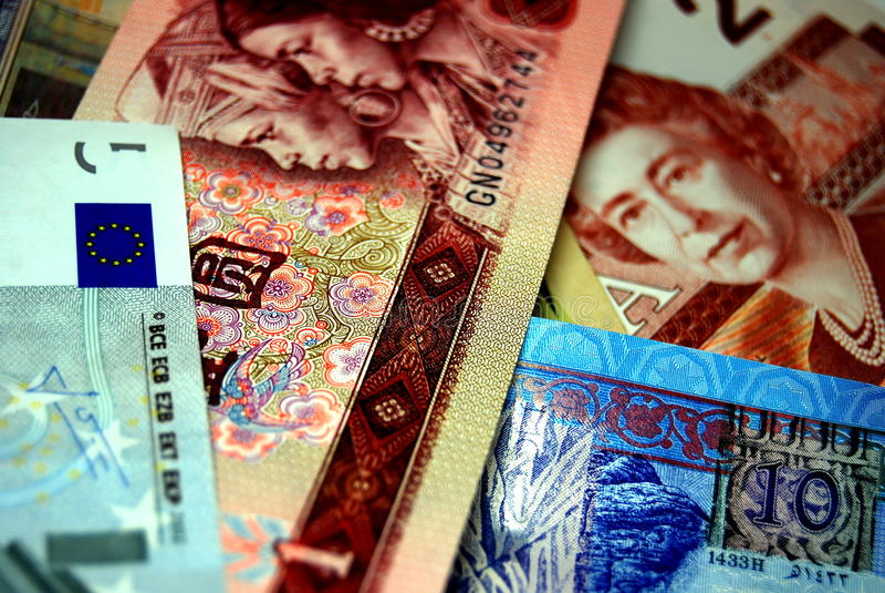 Detalle chino hermoso de los billetes de banco de la moneda extranjera foto de archivo