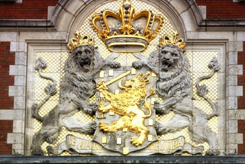 Detalle de Amasing de la estación de tren central de Amsterdam imagen de archivo libre de regalías