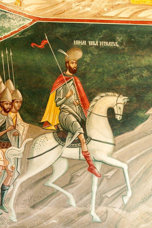 Detalle de Brancoveanu de la iglesia del interior foto de archivo