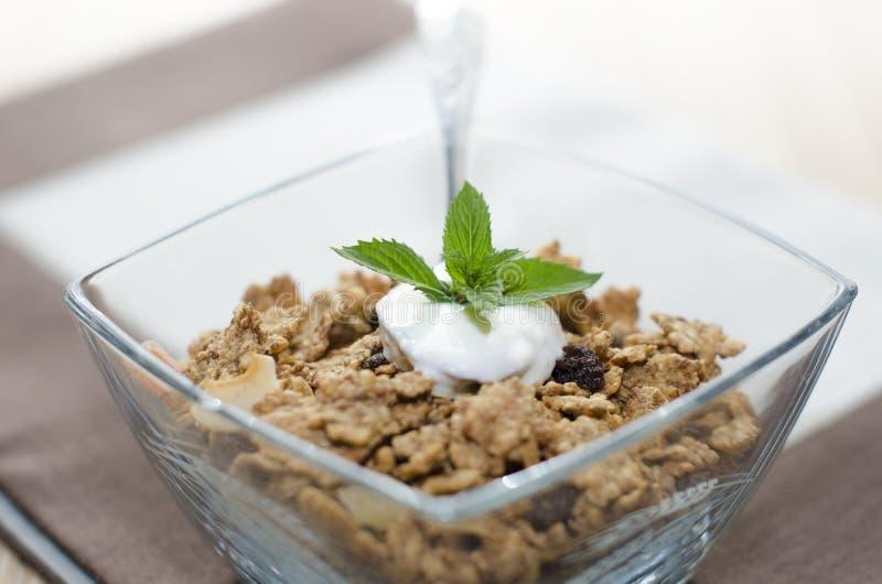 Detalle de cereales en un cuenco con el yogur, la menta y la fruta fresca fotografía de archivo