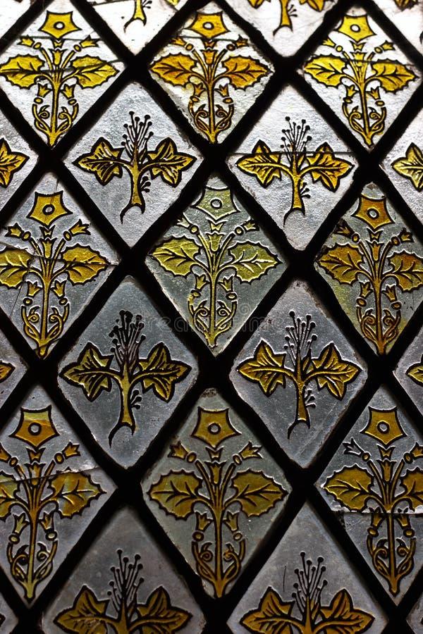 Detalle de cristal manchado de la ventana imagen de archivo