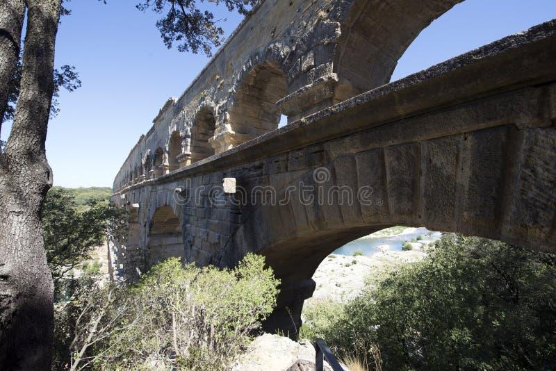 Detalle de la arquitectura de Pont du Gard, Francia imagenes de archivo