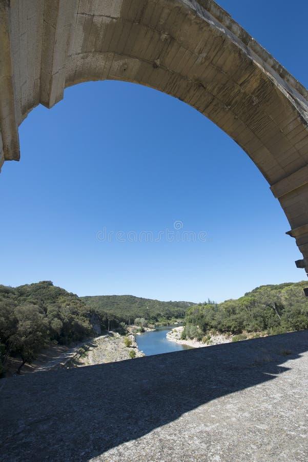 Detalle de la arquitectura de Pont du Gard, Francia fotografía de archivo