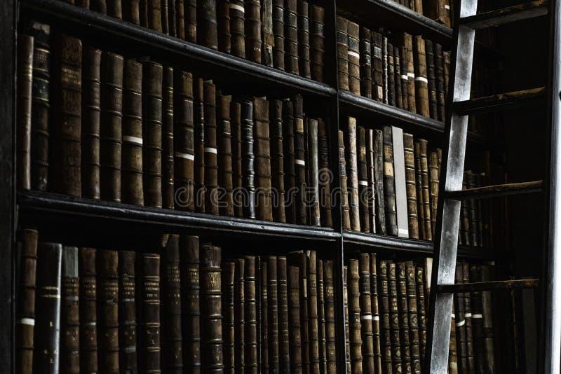 Detalle de la biblioteca cl?sica vieja fotografía de archivo libre de regalías