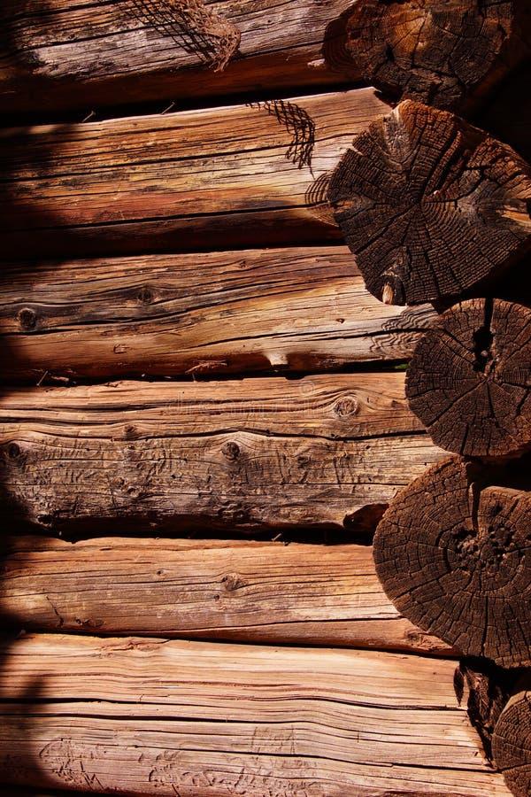 Detalle de la cabaña de madera pionera imagen de archivo