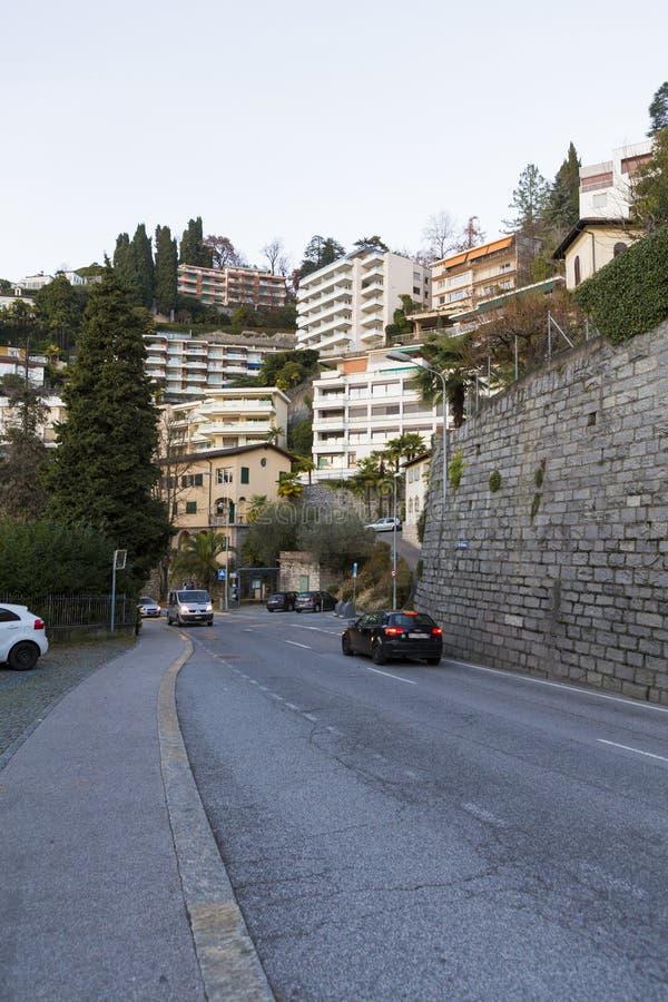 Detalle de la calle y detalle de la arquitectura de Lugano fotografía de archivo libre de regalías