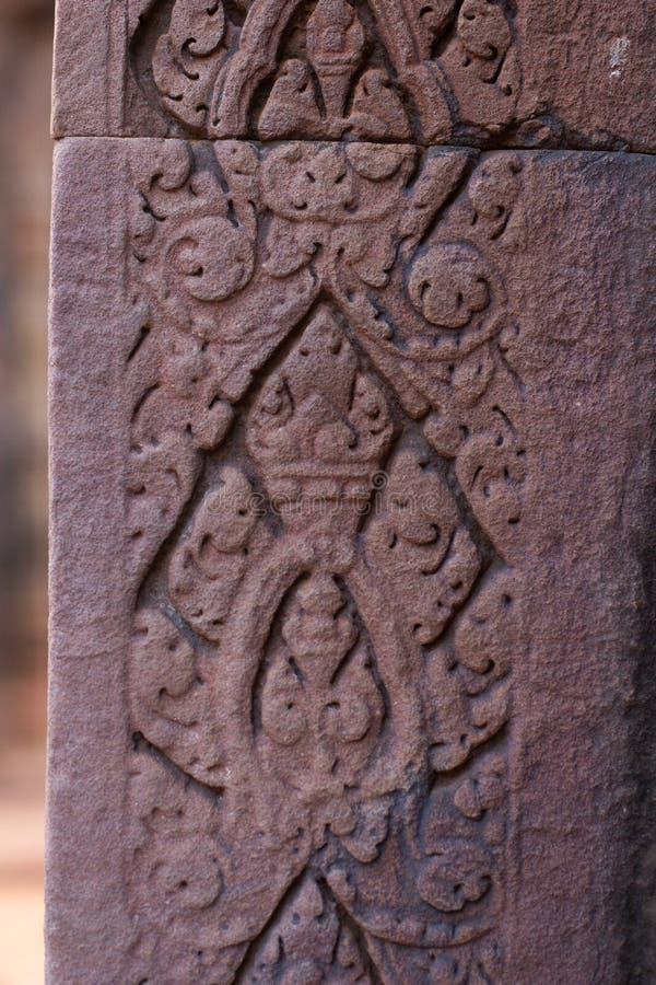 Detalle de la canter?a en el templo antiguo de Banteay Srei, Camboya imagen de archivo libre de regalías