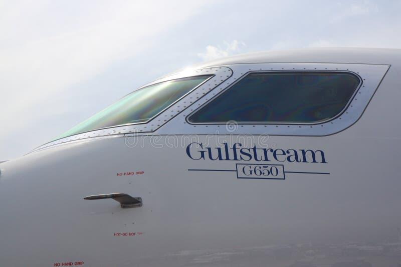 Detalle de la carlinga del nuevo Gulfstream G650 foto de archivo libre de regalías