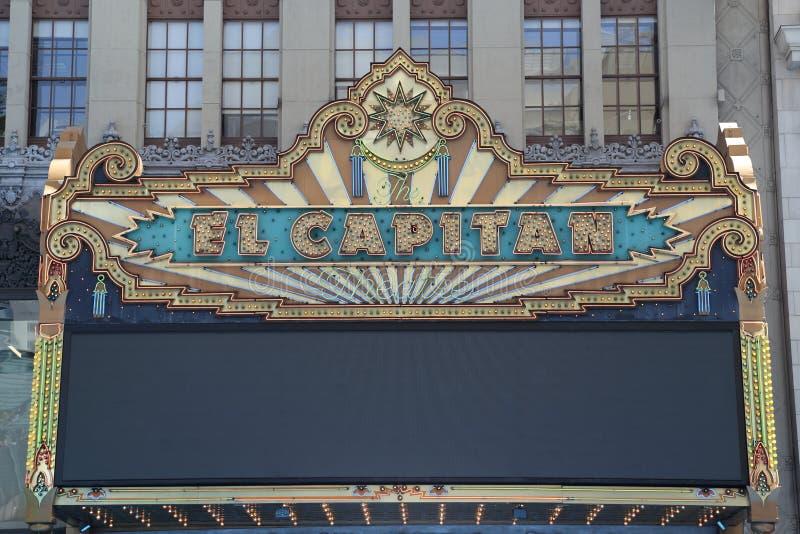 Detalle de la carpa del teatro del EL Capitan imágenes de archivo libres de regalías