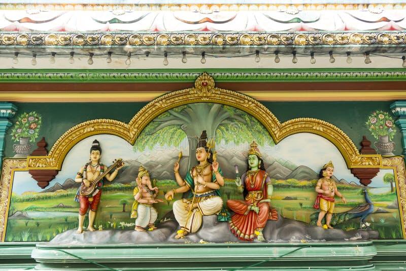 Detalle de la decoración del templo hindú imagen de archivo