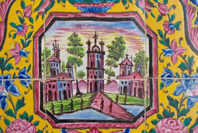 Detalle de la decoración de la pared exterior de la mezquita de Nasir al-Mulk en Shiraz, Irán fotos de archivo libres de regalías