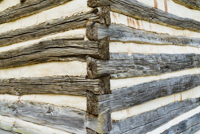 Detalle de la esquina de la cabaña de madera foto de archivo libre de regalías
