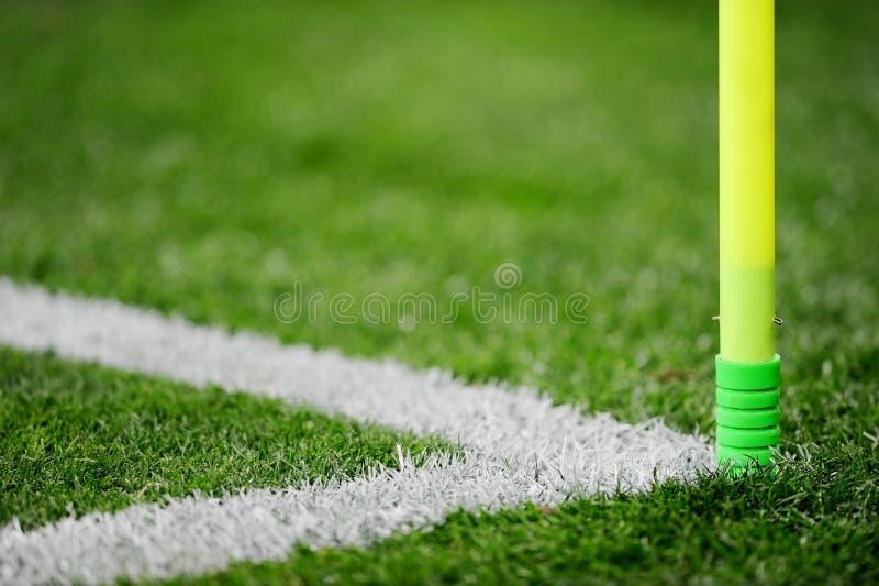 Detalle de la esquina del campo de fútbol fotografía de archivo libre de regalías