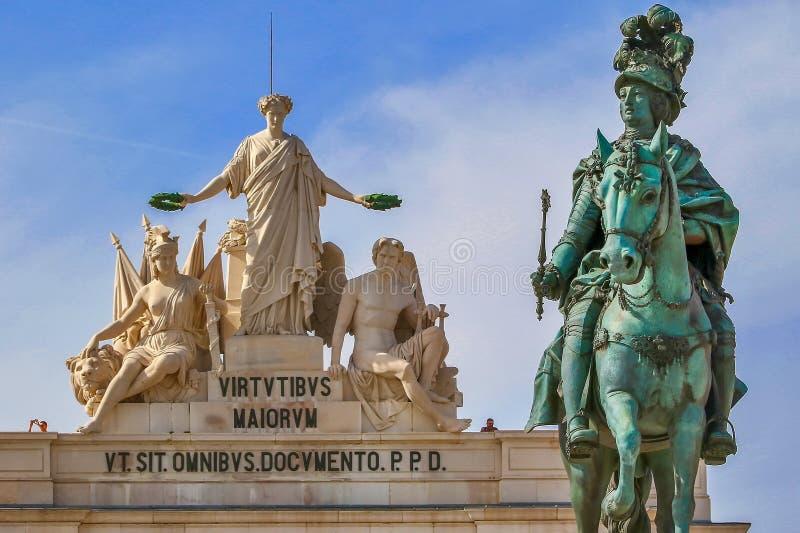 Detalle de la estatua de Dom Jose, Lisboa imagenes de archivo
