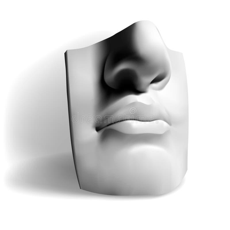 Detalle de la estatua famosa de Miguel Ángel - David franco ilustración del vector