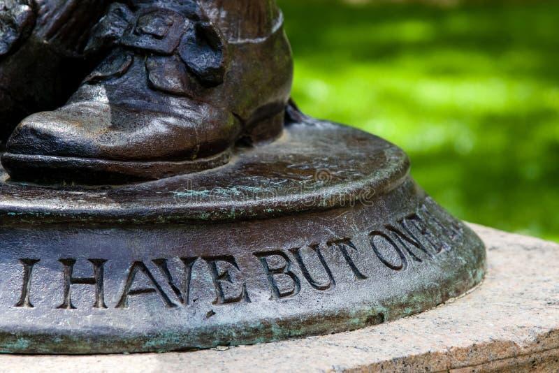 Detalle de la estatua de Nathan Hale fotografía de archivo