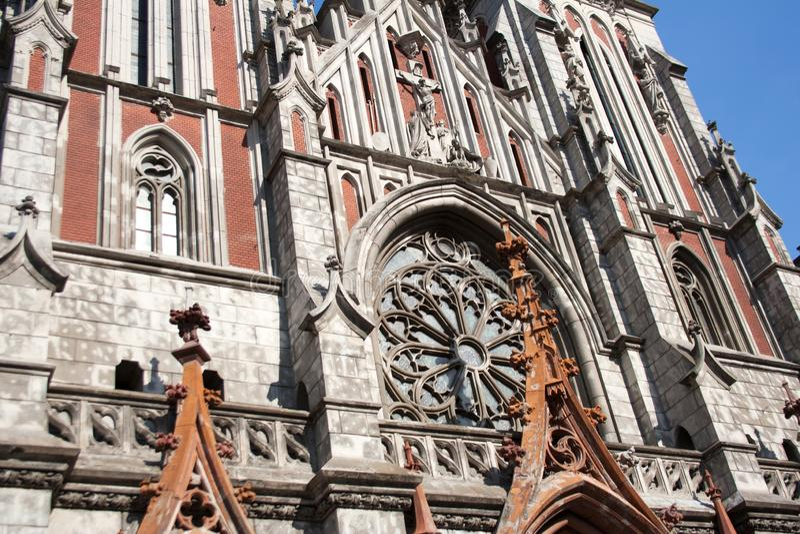 Detalle de la fachada de la catedral de San Nicolás imagen de archivo libre de regalías