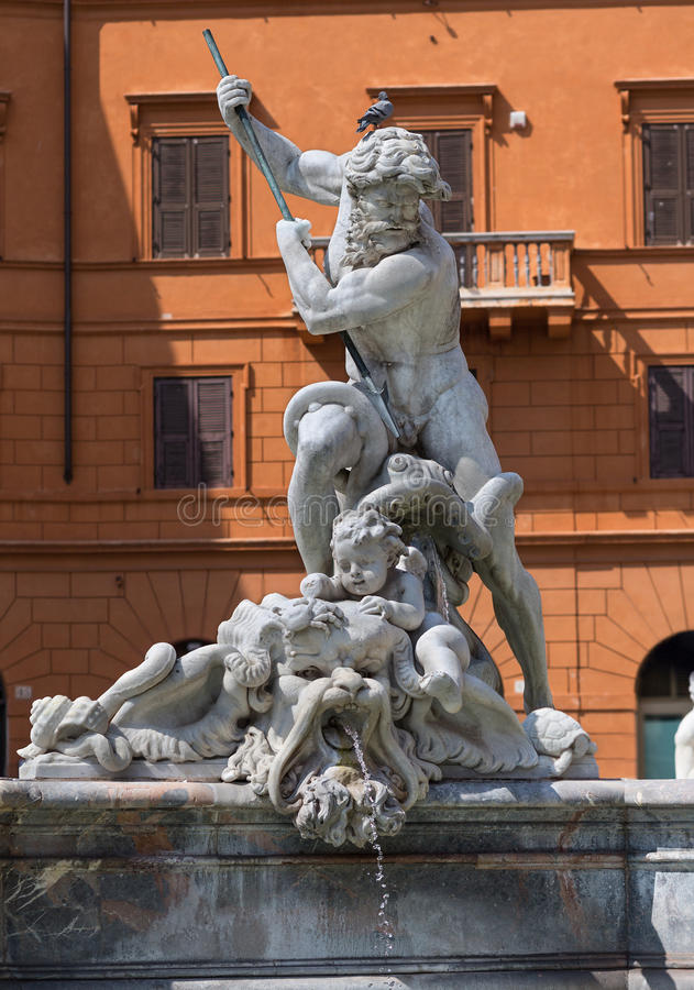 Detalle de la fuente de Neptuno en la plaza Navona, Roma, Italia fotos de archivo libres de regalías