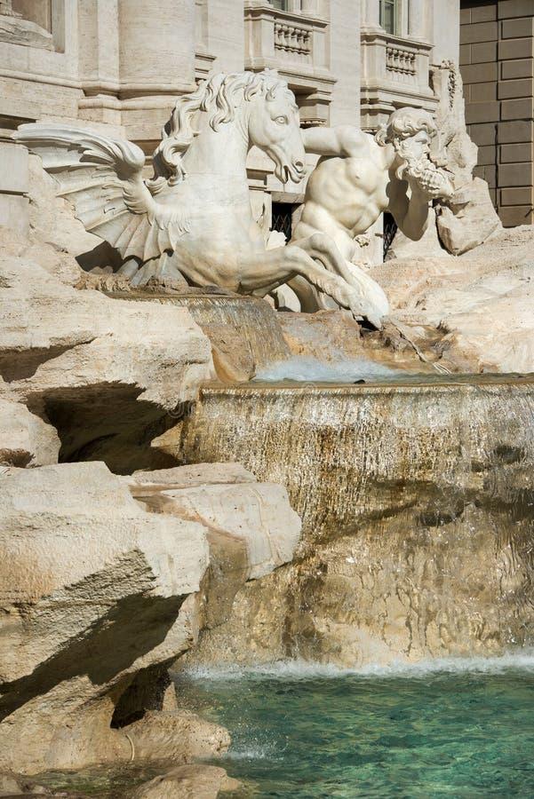 Detalle de la fuente del Trevi en Roma foto de archivo