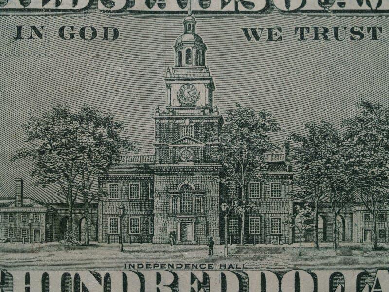Detalle de la independencia Pasillo $100 Bill fotografía de archivo libre de regalías