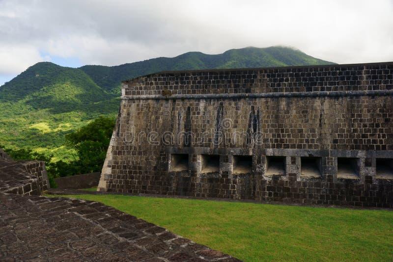 Detalle de la pared de la fortaleza de la colina del azufre, St San Cristobal y Nevis imágenes de archivo libres de regalías