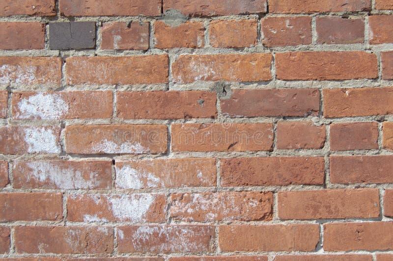 Detalle de la pared del ladrillo y del estuco imagenes de archivo