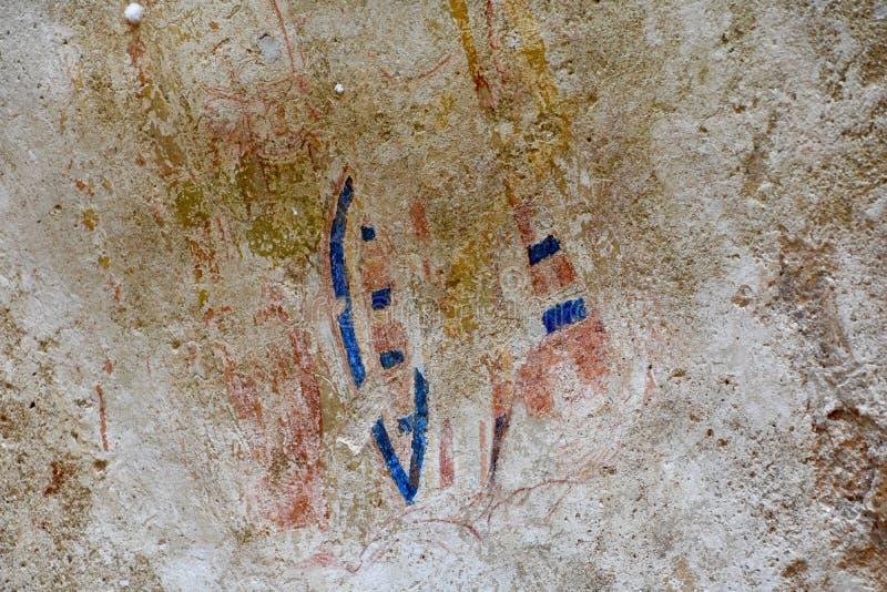 Detalle de la pintura de cuevas en la fortaleza de la roca de Sigiriya foto de archivo libre de regalías