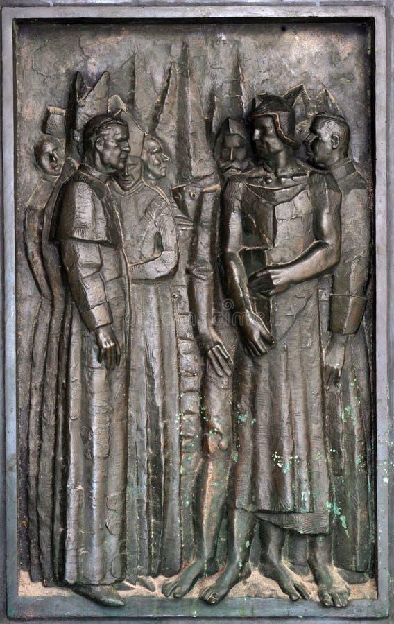 Detalle de la puerta de la catedral de San Jaime en Sibenik, Croacia imágenes de archivo libres de regalías