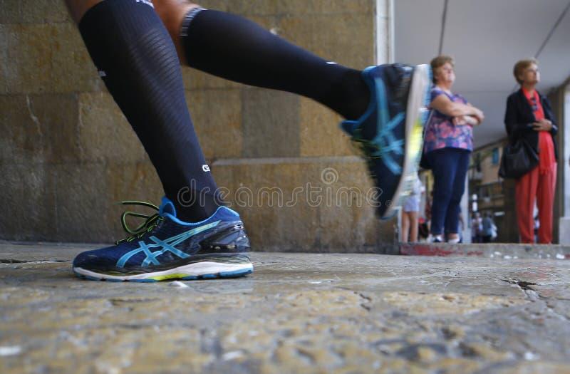 Detalle de la raza de Palma Marathon 2018 imagen de archivo