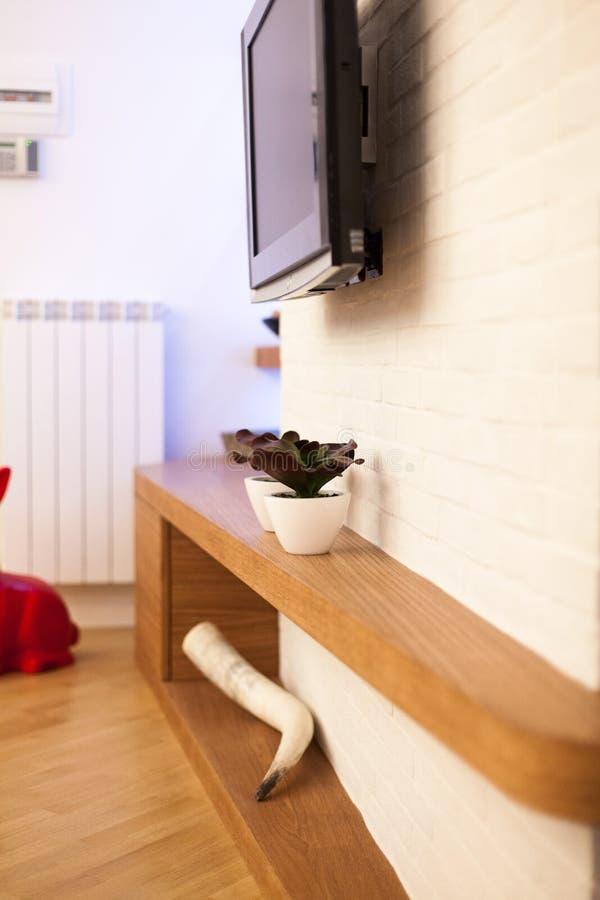 Detalle de la sala de estar moderna con las decoraciones de madera imagen de archivo