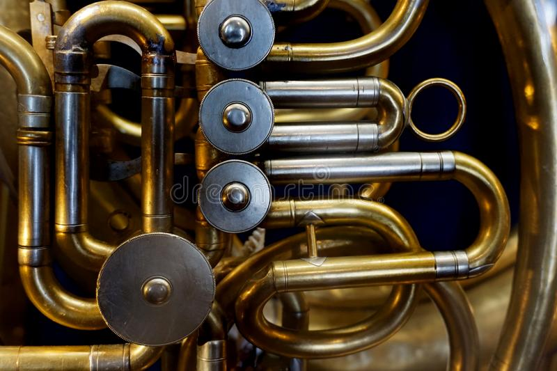 Detalle de la trompeta fotografía de archivo
