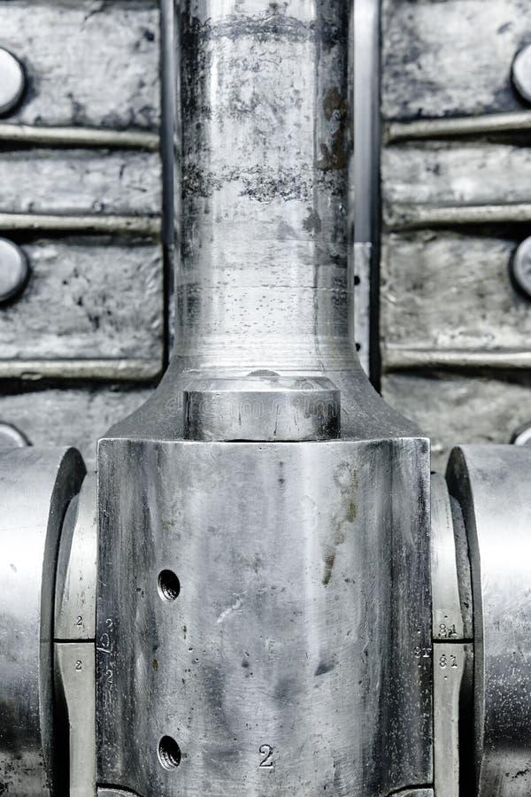Detalle de la válvula de motor Equipo de acero industrial Backgr potente fotos de archivo libres de regalías