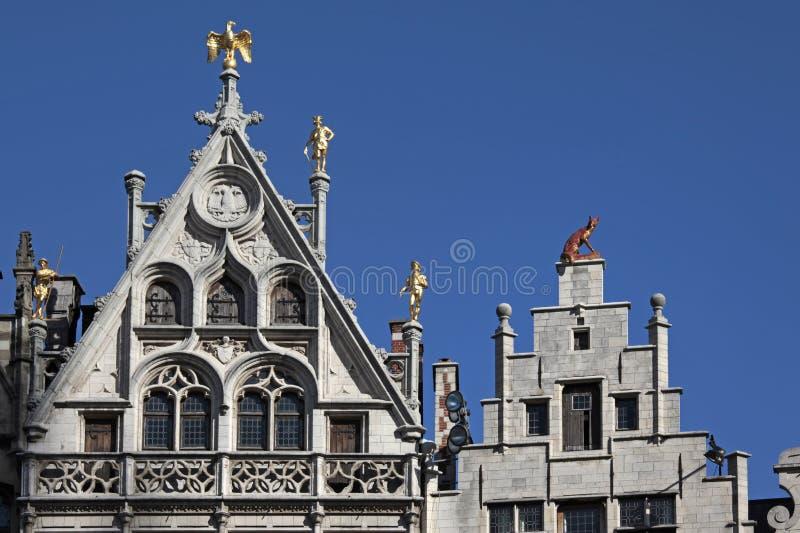 Detalle de las casas del gremio, Amberes, Bélgica fotografía de archivo libre de regalías