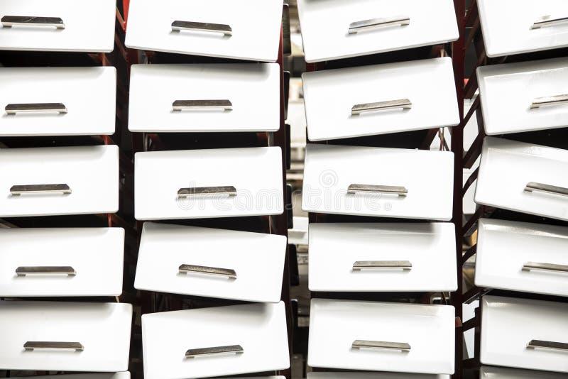 Detalle de las estufas en fábrica foto de archivo