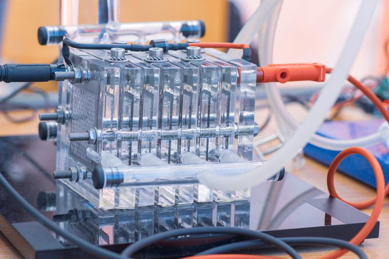 Detalle de las pilas de combustible del hidrógeno - alternativas y de la fuente de energía limpia Concepto de la nueva tecnología fotografía de archivo