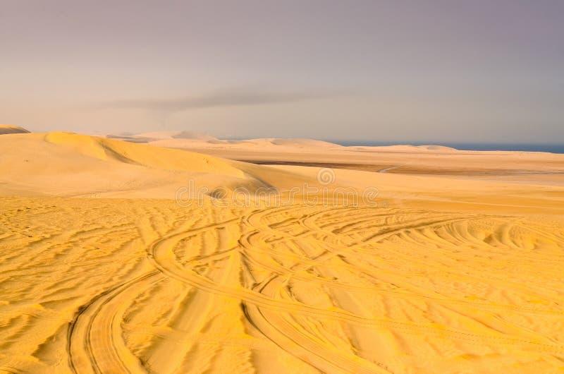 Detalle de las pistas del neumático en desierto de la arena imagen de archivo libre de regalías