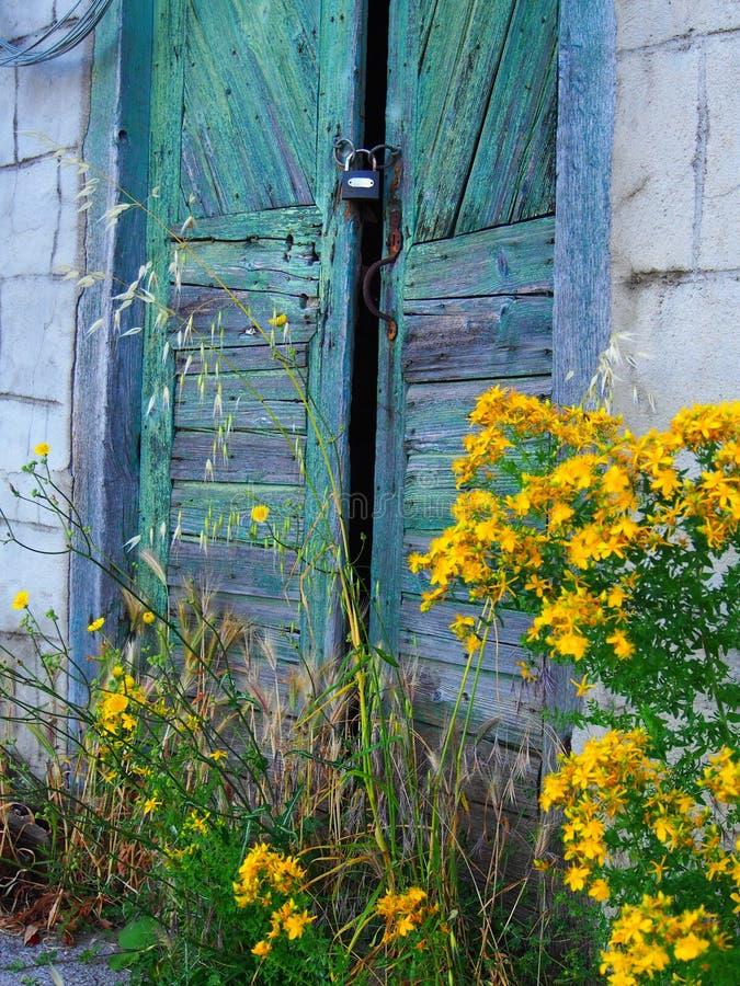 Detalle de las puertas de madera viejas de la casa y de las flores amarillas foto de archivo libre de regalías