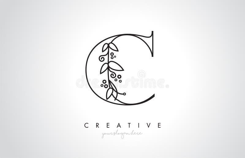 Detalle de Logo Organic Monogram Plant Leafs de la letra de C y diseño del círculo Logotipo creativo del icono de la letra ilustración del vector