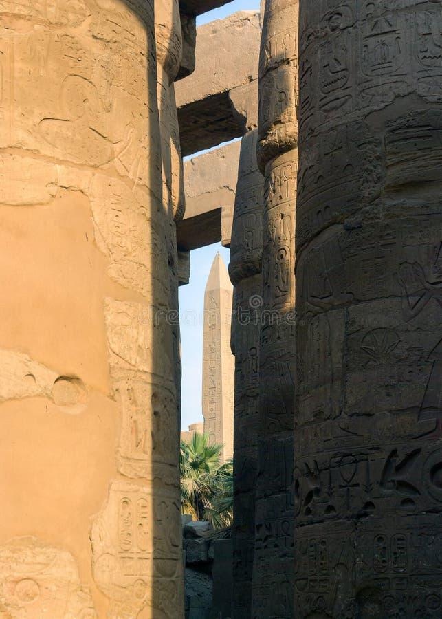Detalle de los jeroglíficos grabados en las columnas en el hyposty imagen de archivo libre de regalías