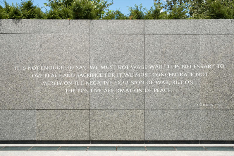 Detalle de Martin Luther King Jr Monumento nacional en Washin fotos de archivo libres de regalías