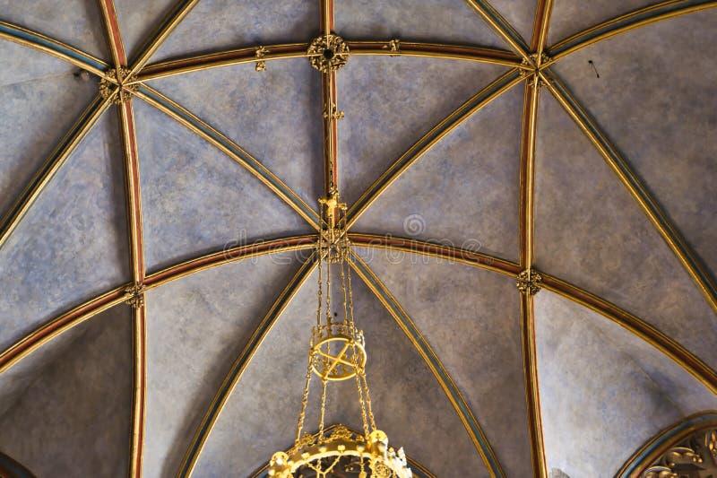 Detalle de oro del techo de St Vitus Cathedral foto de archivo libre de regalías