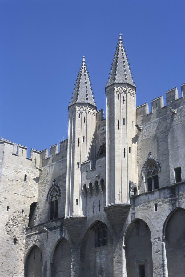 Detalle de Palace de los papas, Anignon, Francia foto de archivo libre de regalías