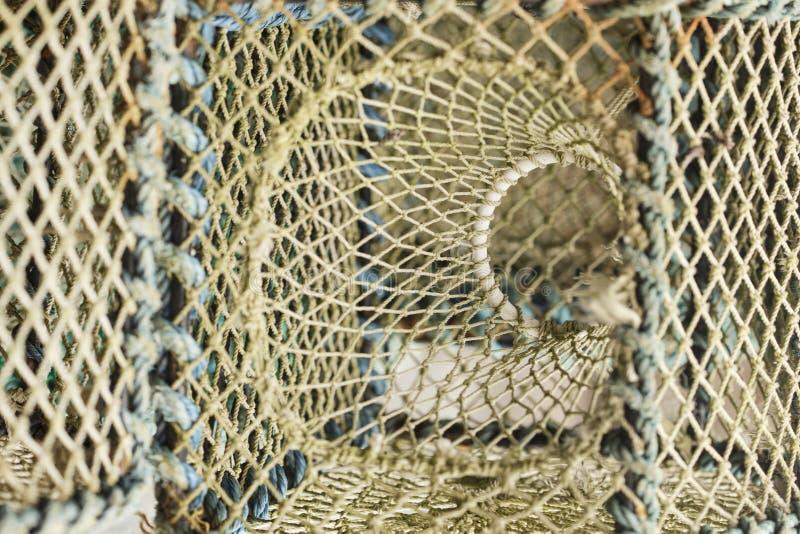 Detalle de pescar las trampas, potes de langosta en el puerto imagenes de archivo