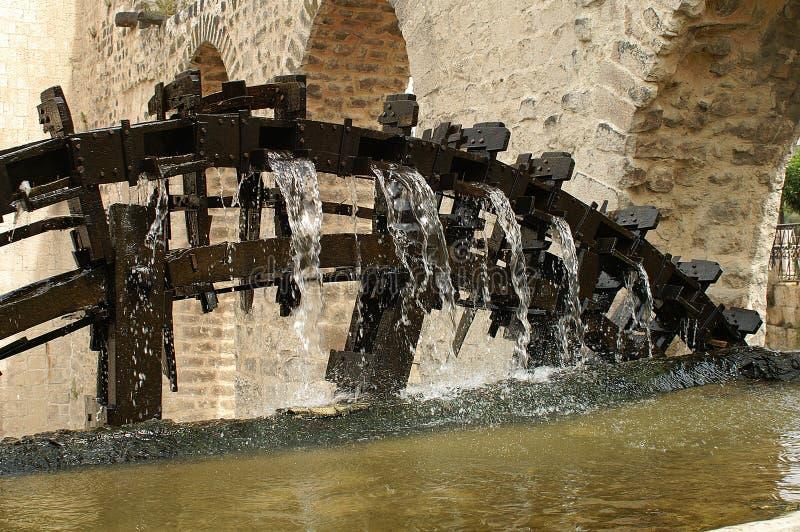 Detalle de ruedas hidráulicas de madera en Hamah en Siria foto de archivo libre de regalías