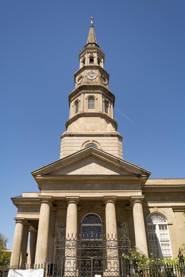 Detalle de St Phillips Church en Charleston, Carolina del Sur imágenes de archivo libres de regalías