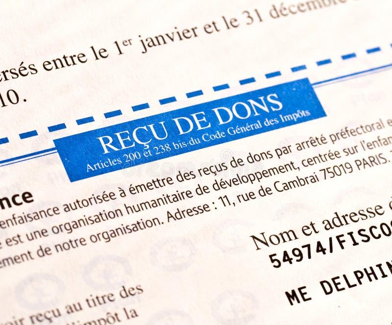 Detalle de un recibo anónimo francés para las donaciones foto de archivo libre de regalías