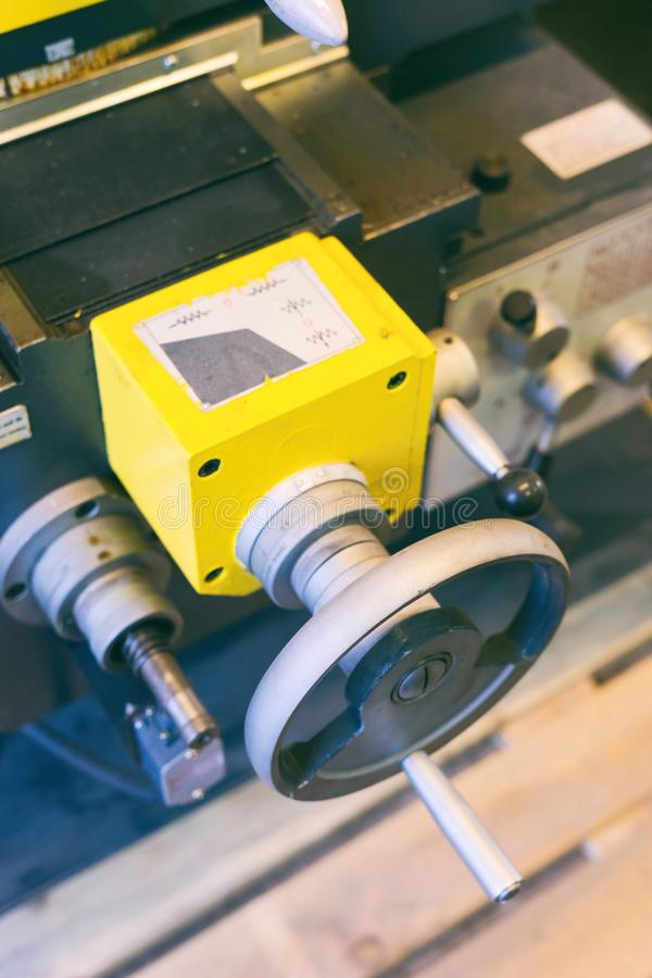 Detalle de una máquina del torno fotografía de archivo