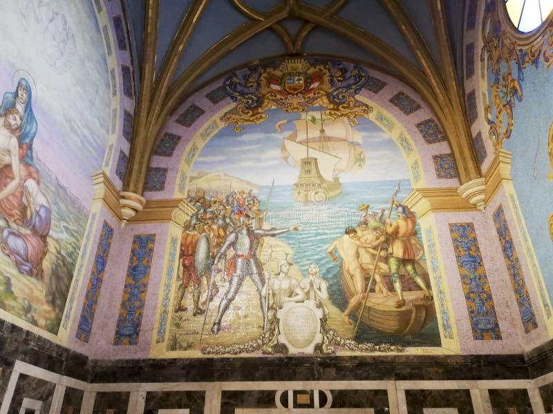 Detalle de una pintura dentro de la catedral de Lima fotos de archivo